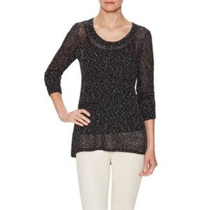 Eileen Fisher Speckled Open Knit Scoopneck Sweater